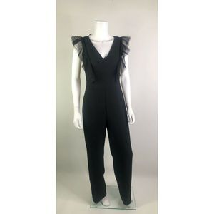 NEW Eliza J Flutter Mesh Lattice Wide Leg Jumpsuit
